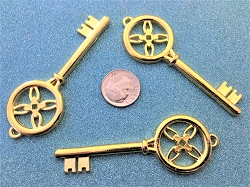 Large Vintage Skeleton Key Duplicate Gold Flower Gothic Windmill Pinwheel DIY Bulk Lot Seat Place Marker Ancient Antique Beads Sale
